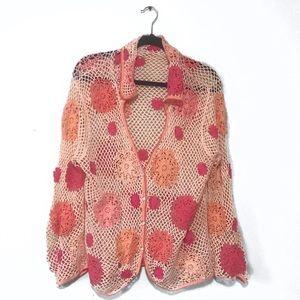 Cottage Core Open Knit Crochet Floral Sweater
